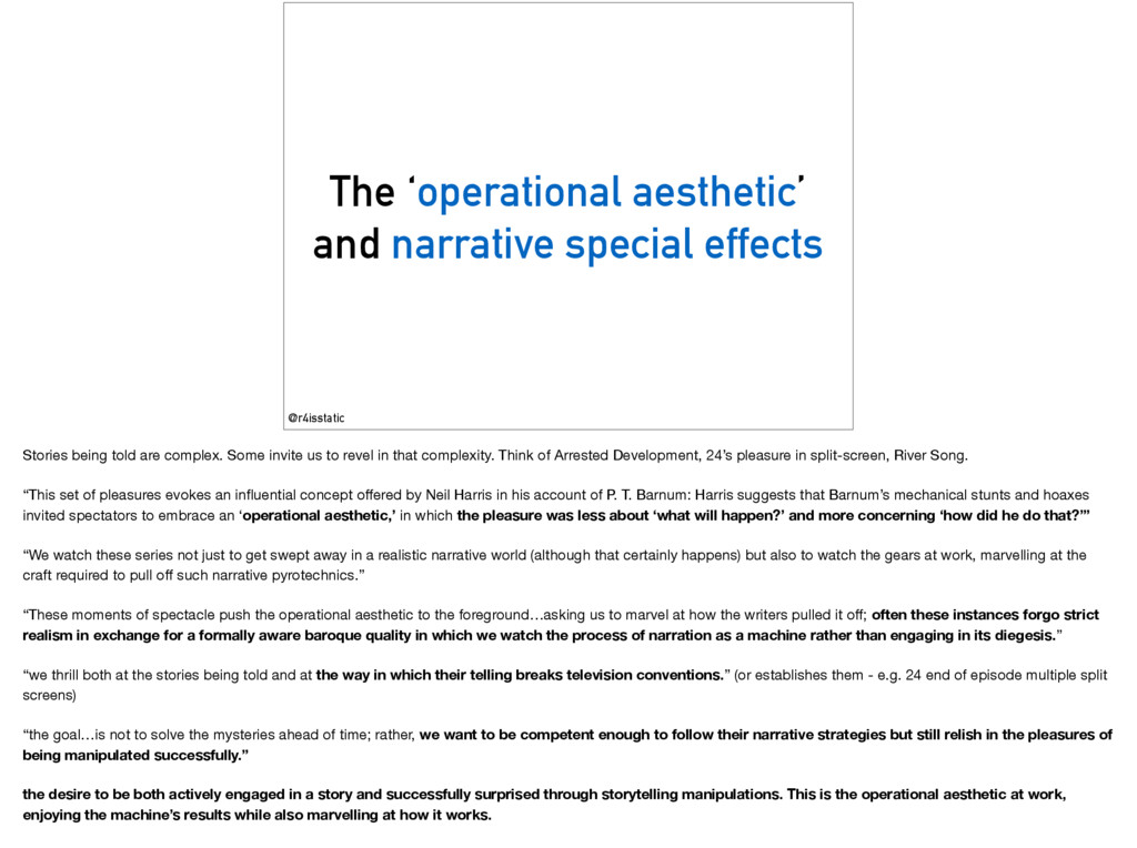The 'operational aesthetic' and narrative speci...