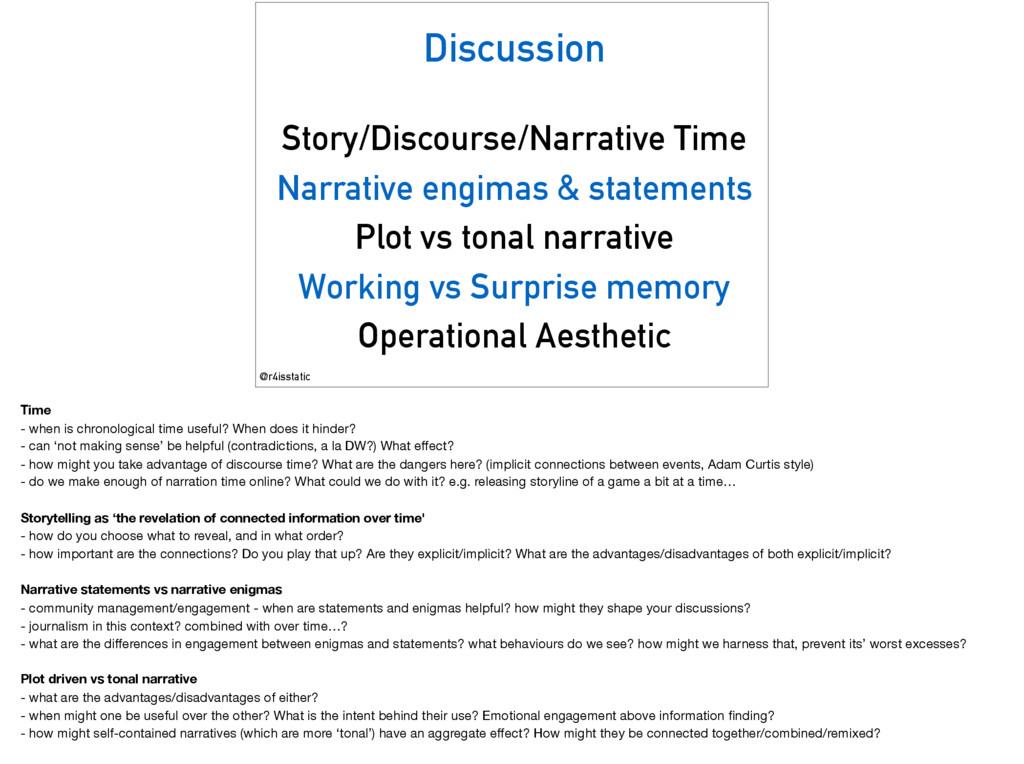Discussion Story/Discourse/Narrative Time Narra...