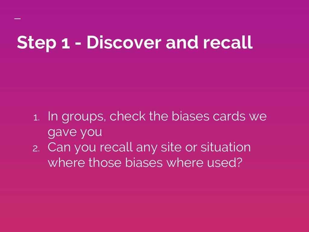 Step 1 - Discover and recall 1. In groups, chec...