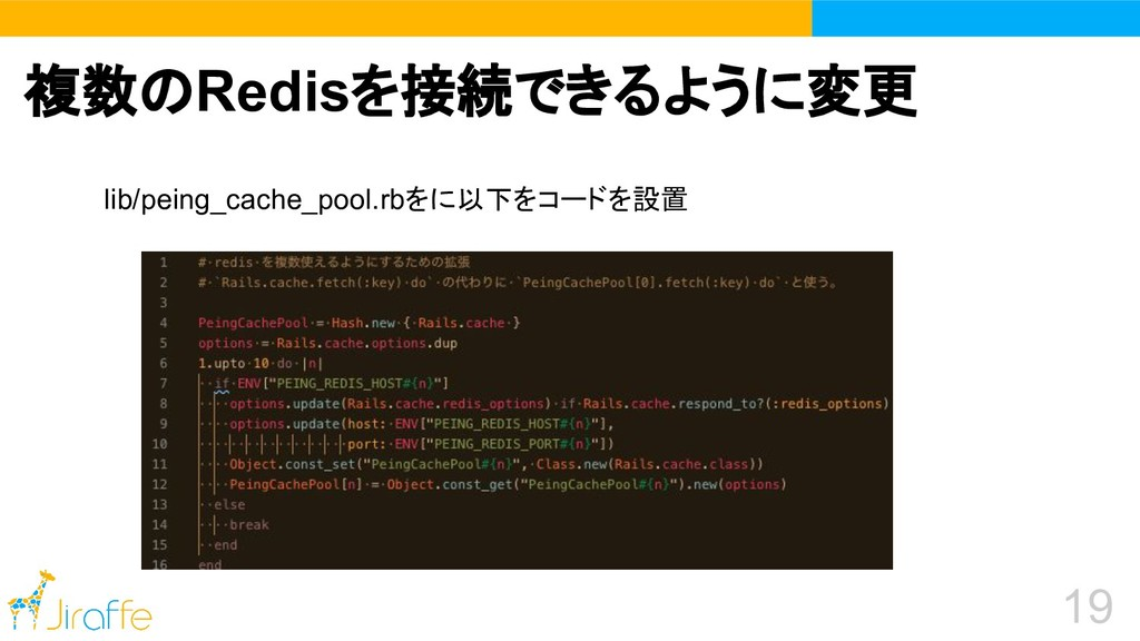 19 lib/peing_cache_pool.rbをに以下をコードを設置 複数のRedisを...