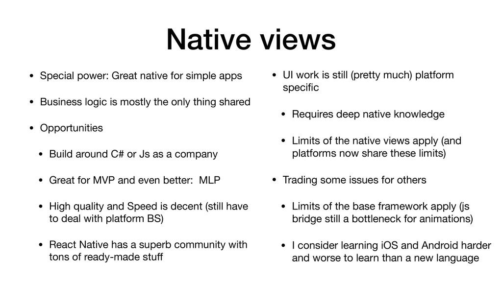 Native views • Special power: Great native for ...
