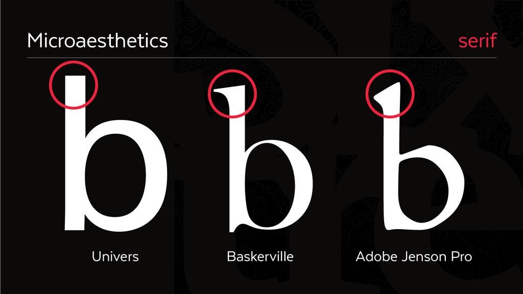 Six Microaesthetics serif Univers Baskerville A...