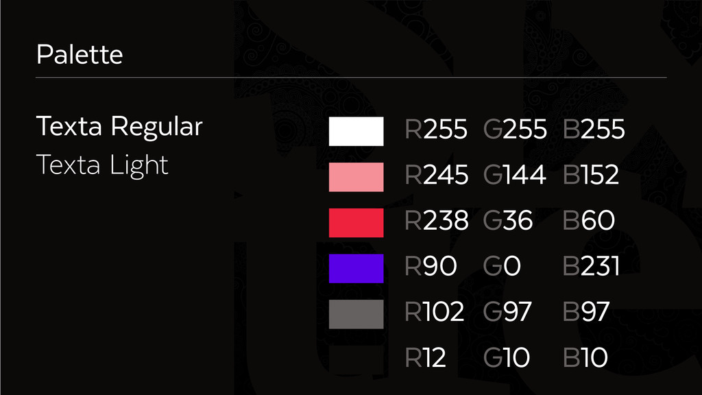Six Palette Texta Regular Texta Light R255 G255...