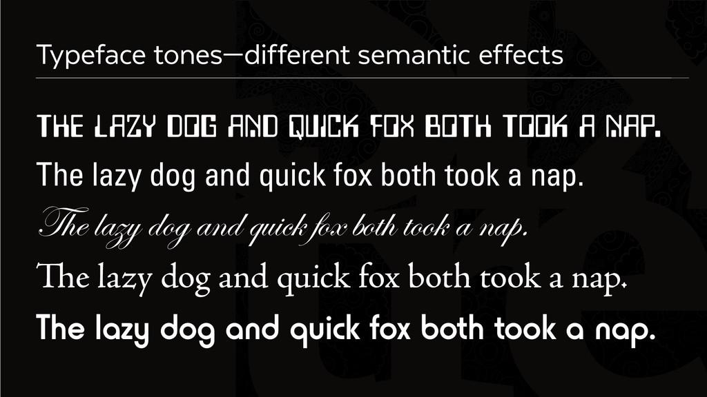 Six Typeface tones—different semantic effects T...