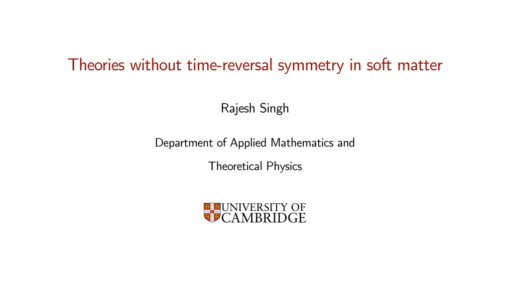Rajesh Singh   Department of Applied Mathematic...