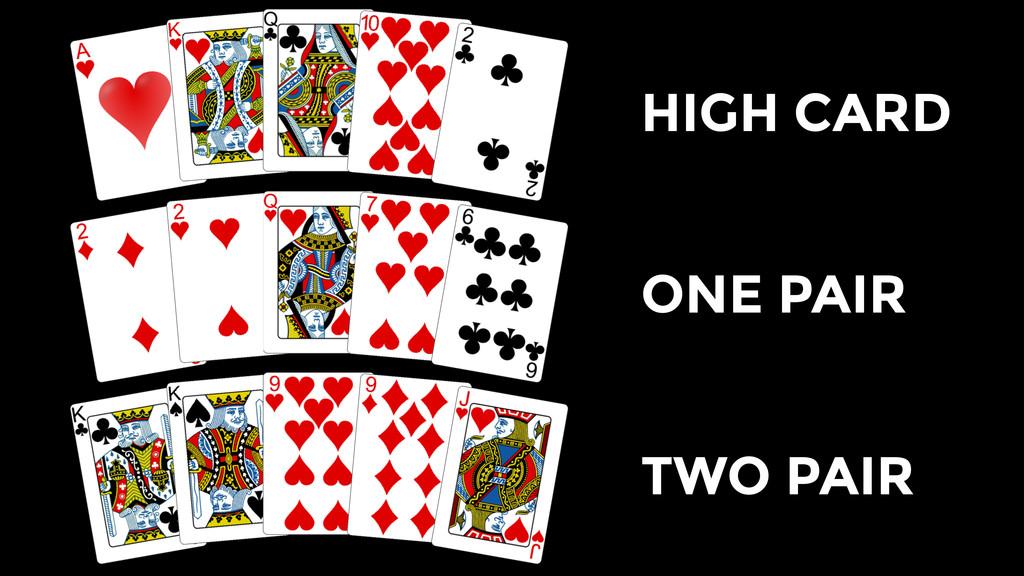 HIGH CARD ONE PAIR TWO PAIR