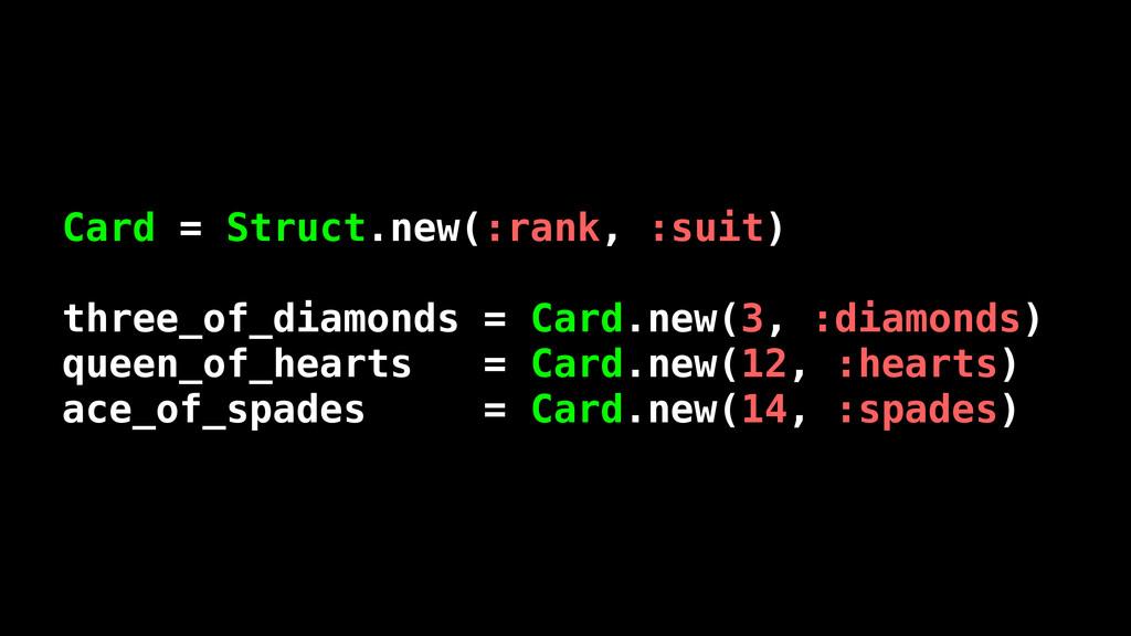 Card = Struct.new(:rank, :suit) three_of_diamon...