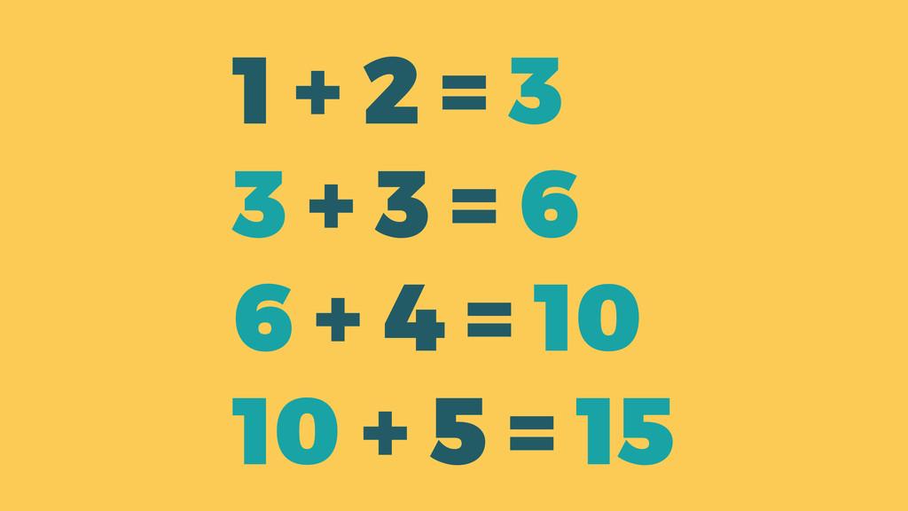 1 + 2 = 3 3 + 3 = 6 6 + 4 = 10 10 + 5 = 15