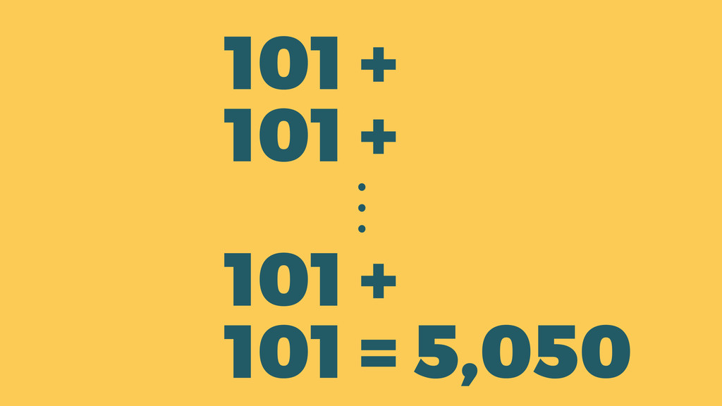 101 + 101 + 101 + 101 = 5,050 ⋮