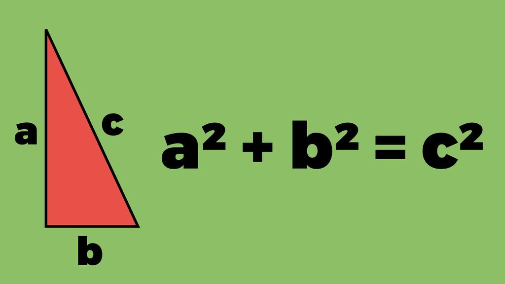 a b c a² + b² = c²