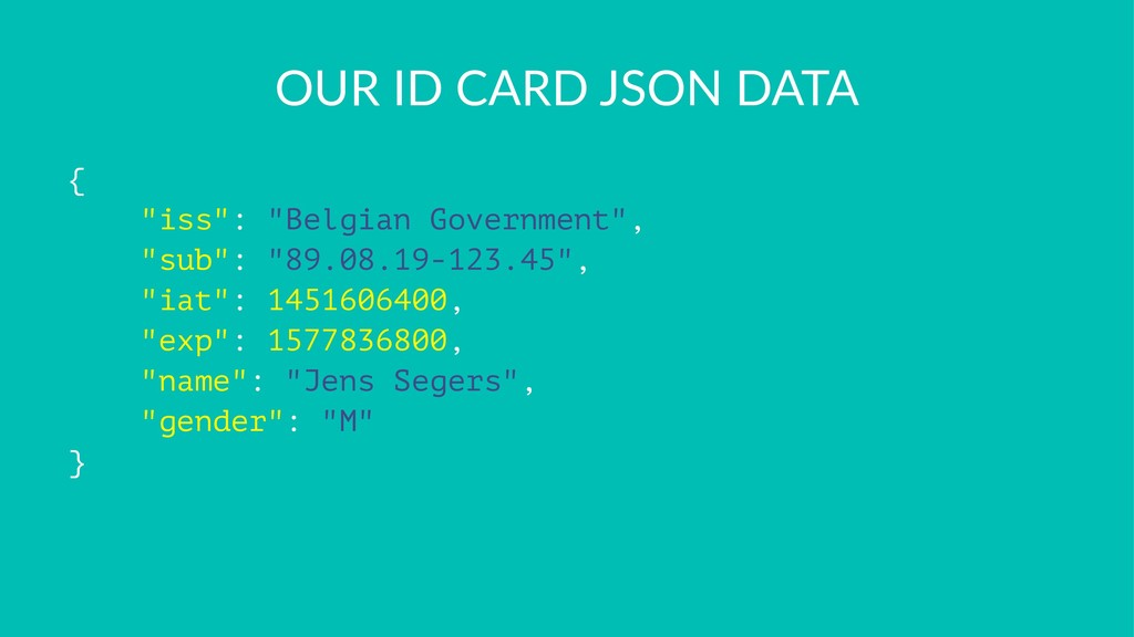 """OUR ID CARD JSON DATA { """"iss"""": """"Belgian Governm..."""