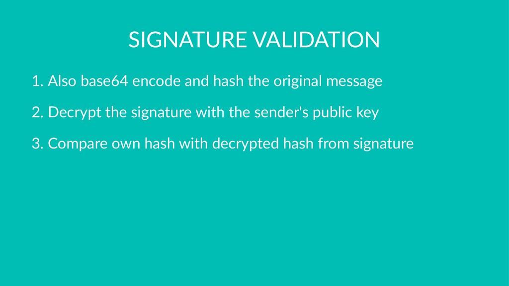 SIGNATURE VALIDATION 1. Also base64 encode and ...