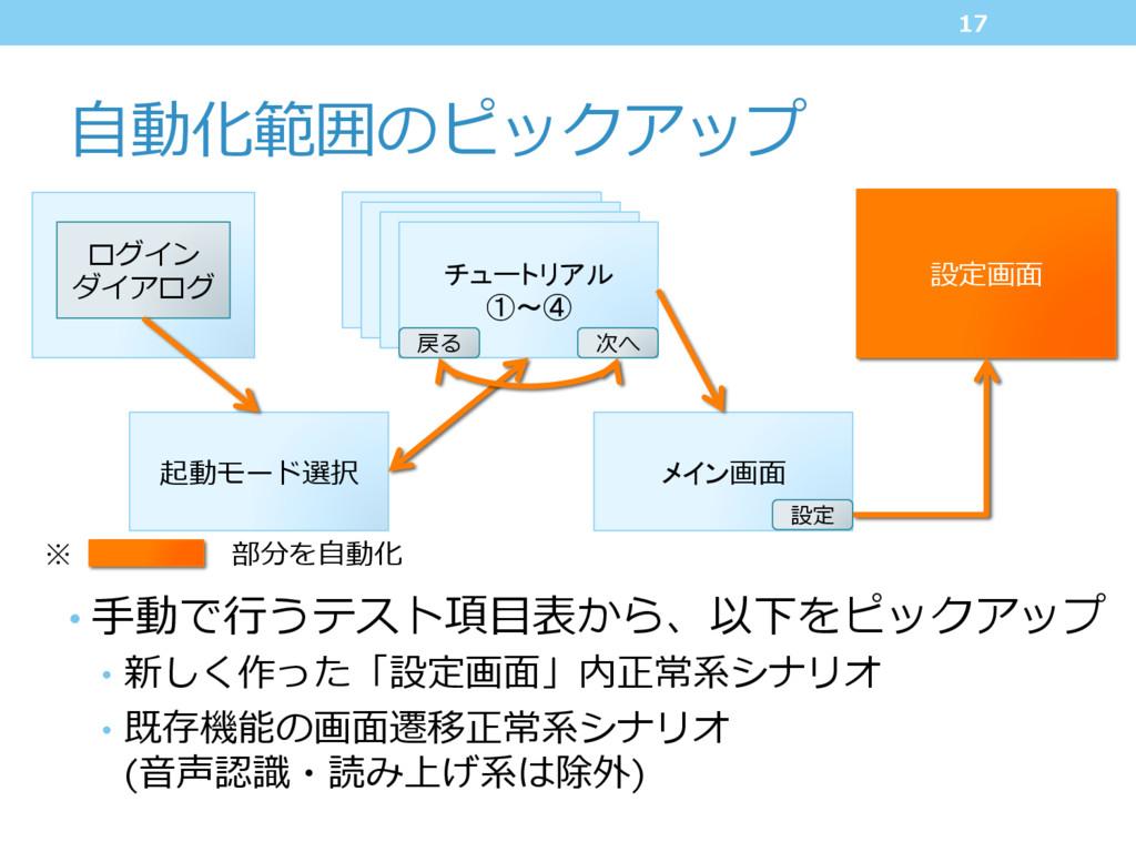 設定画⾯ ⾃動化範囲のピックアップ •⼿動で⾏うテスト項⽬表から、以下をピックアップ • ...