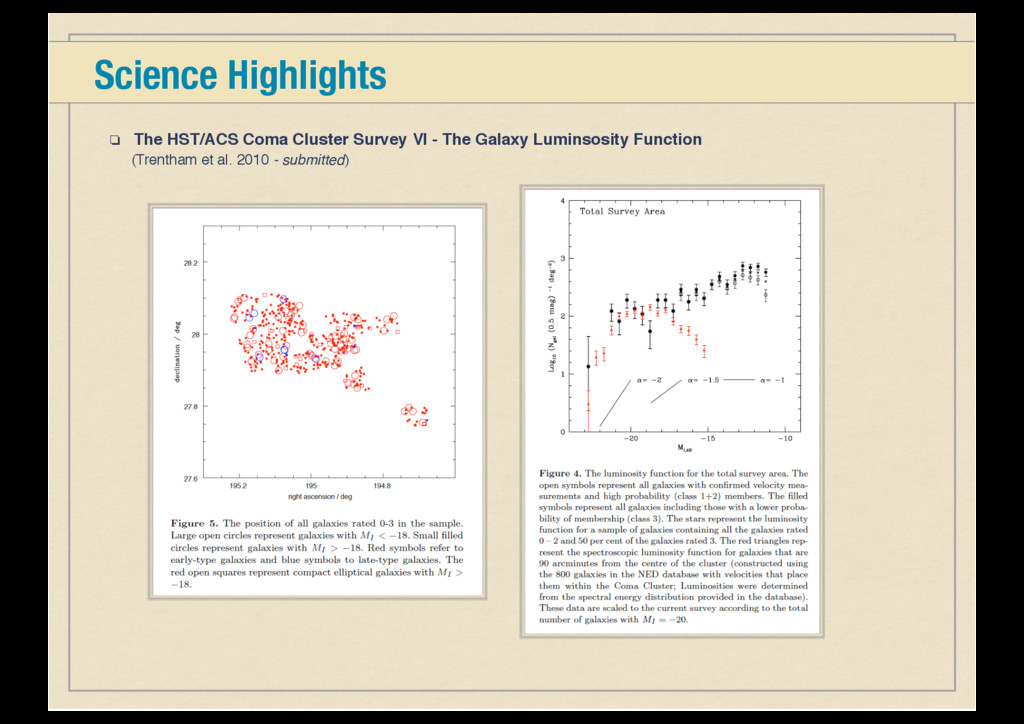 Science Highlights ❏ The HST/ACS Coma Cluster S...
