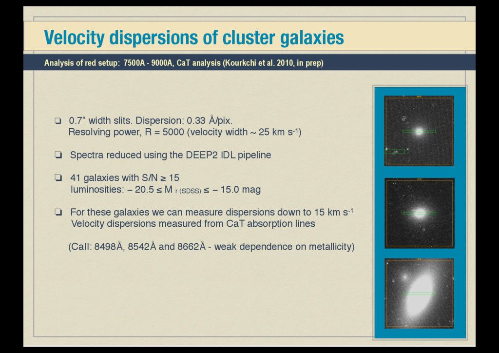 """Velocity dispersions of cluster galaxies ❏ 0.7""""..."""