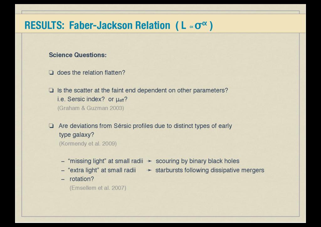 RESULTS: Faber-Jackson Relation ( L ∝σα ) Scien...