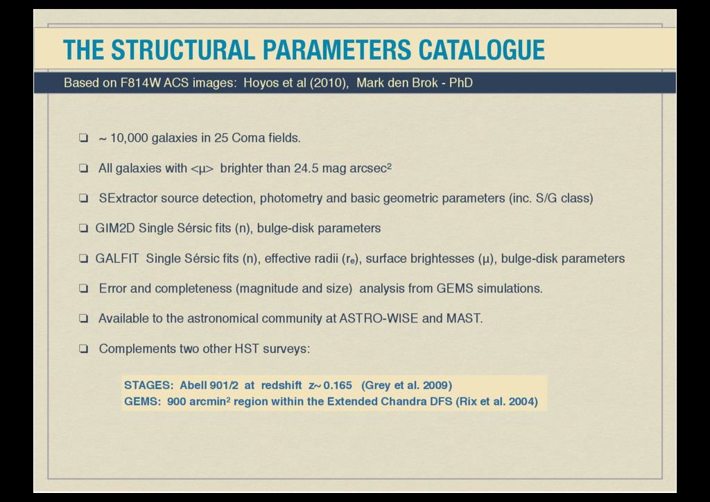 THE STRUCTURAL PARAMETERS CATALOGUE ❏ ~ 10,000 ...