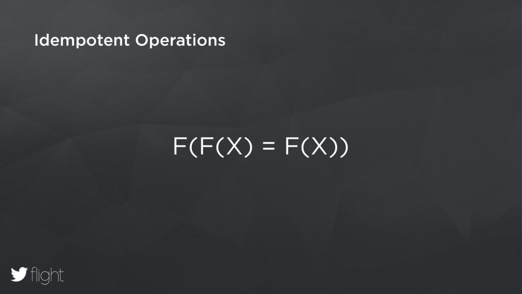Idempotent Operations F(F(X) = F(X))