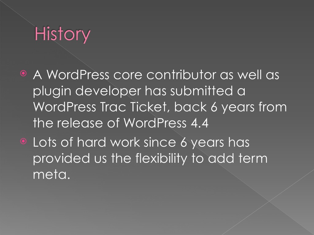 History ⦿ A WordPress core contributor as well ...