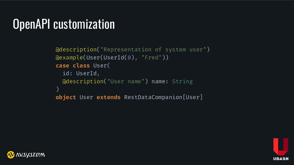 "OpenAPI customization @description(""Representat..."