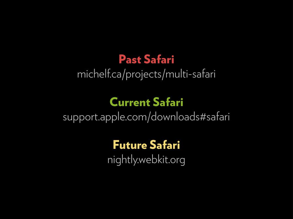 Past Safari michelf.ca/projects/multi-safari Cu...