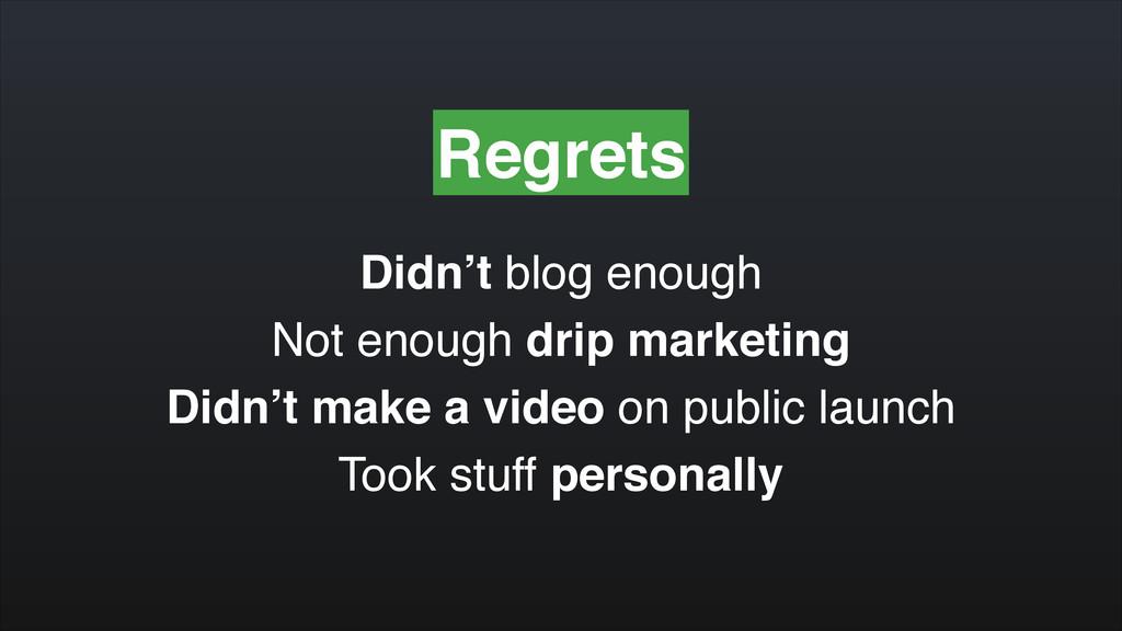 Regrets Didn't blog enough! Not enough drip mar...
