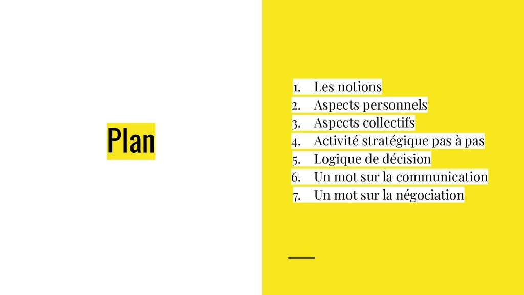 Plan 1. Les notions 2. Aspects personnels 3. As...