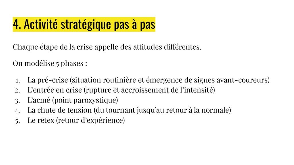 4. Activité stratégique pas à pas Chaque étape ...