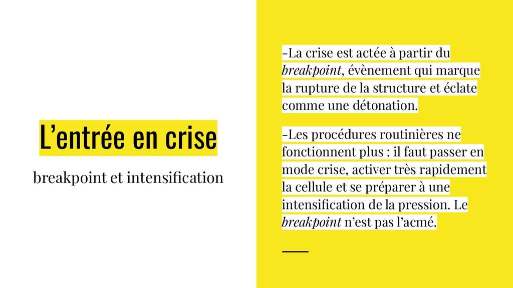 L'entrée en crise breakpoint et intensification ...