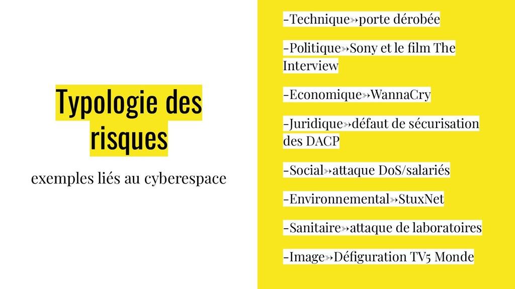 Typologie des risques exemples liés au cyberesp...