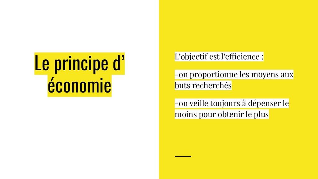 Le principe d' économie L'objectif est l'effici...