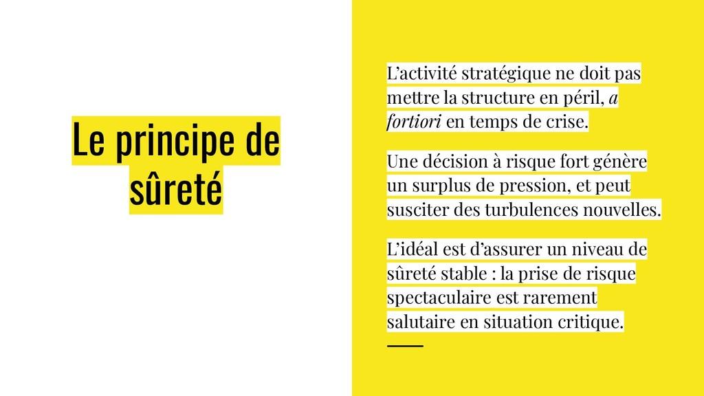 Le principe de sûreté L'activité stratégique ne...