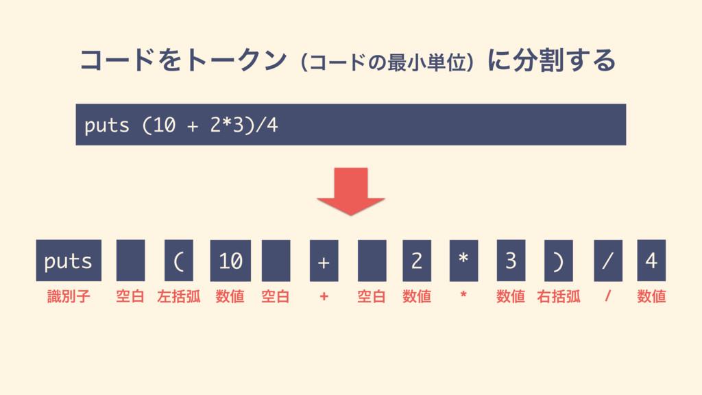 ίʔυΛτʔΫϯʢίʔυͷ࠷খ୯Ґʣʹׂ͢Δ puts ( 2 ࣝผࢠ +  ࠨׅހ p...