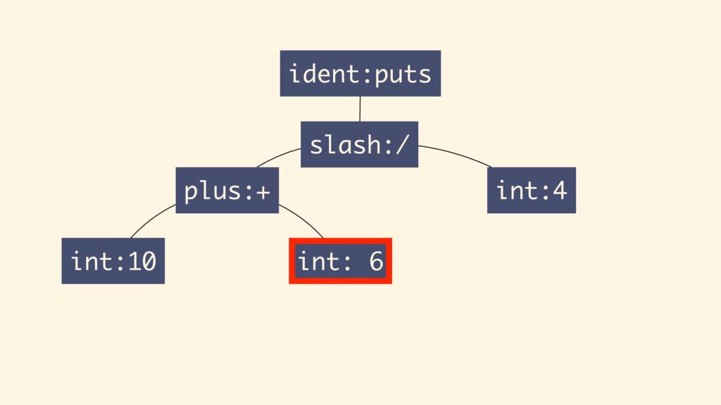 int:10 plus:+ int: 6 ident:puts slash:/ int:4