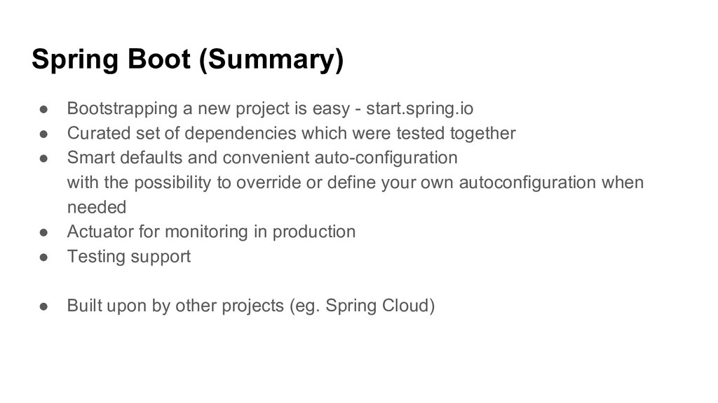 Spring Boot (Summary) ● Bootstrapping a new pro...