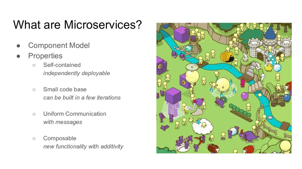 What are Microservices? ● Component Model ● Pro...
