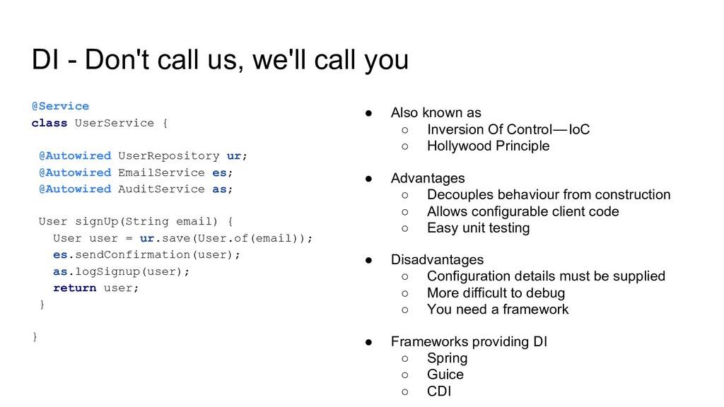 DI - Don't call us, we'll call you @Service cla...