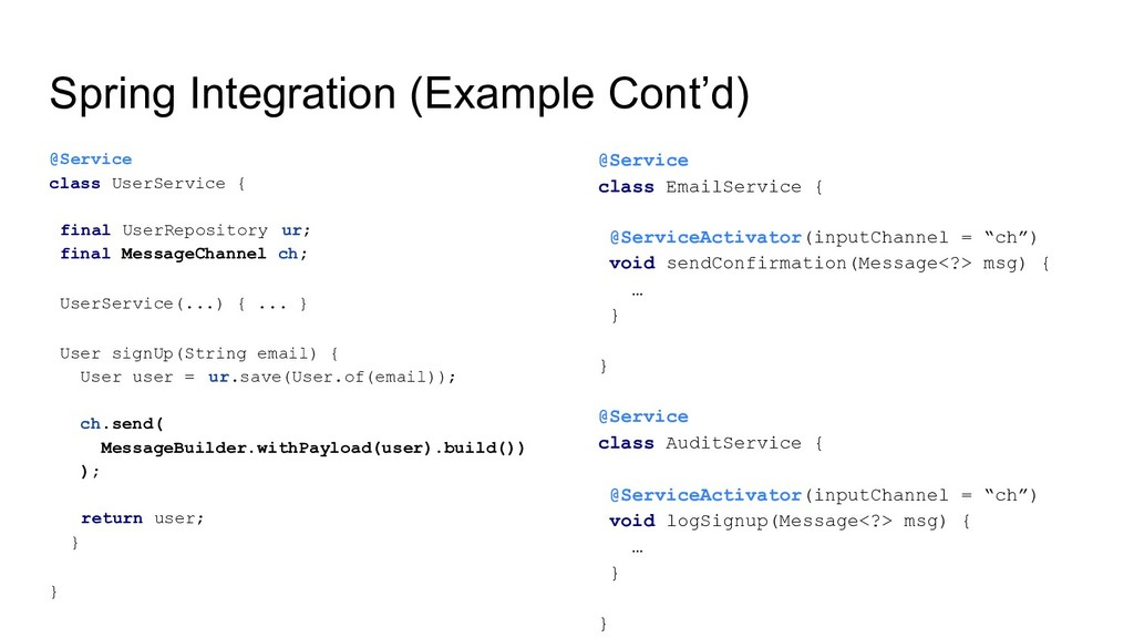Spring Integration (Example Cont'd) @Service cl...