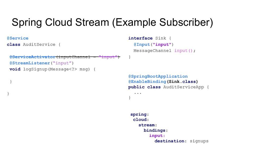 Spring Cloud Stream (Example Subscriber) @Servi...