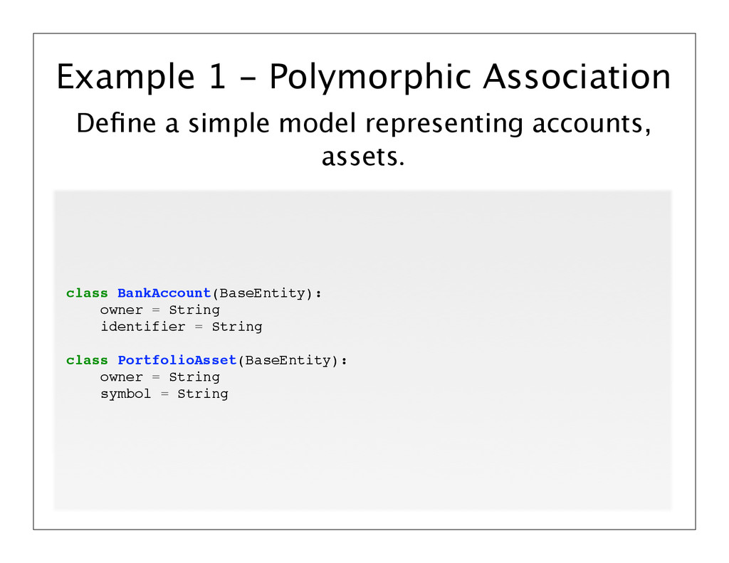 Define a simple model representing accounts, ass...