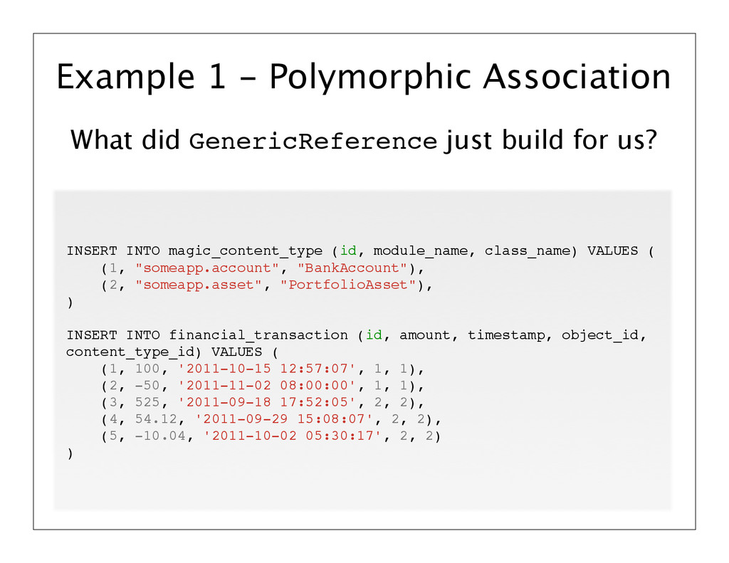 What did GenericReference just build for us? Ex...