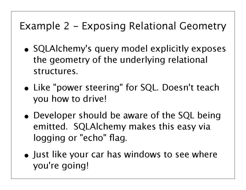 Example 2 - Exposing Relational Geometry • SQLA...