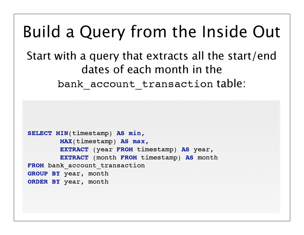 Start with a query that extracts all the start/...