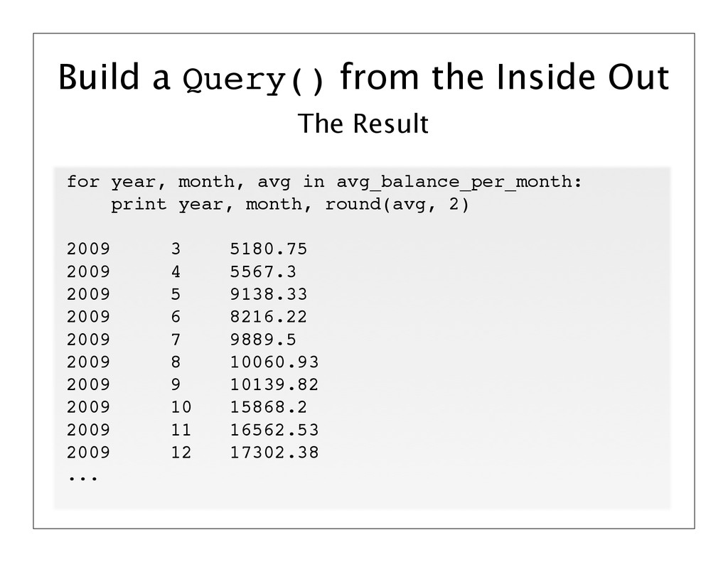 The Result Build a Query() from the Inside Out ...