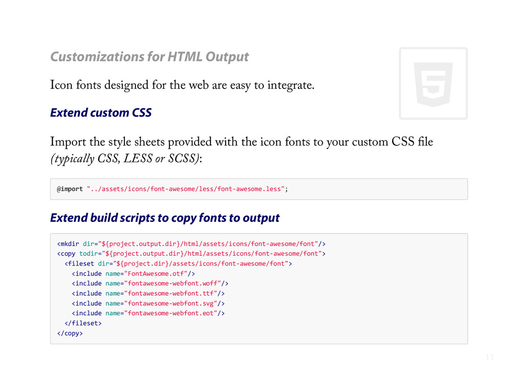 + Customizations for HTML Output Icon fonts des...
