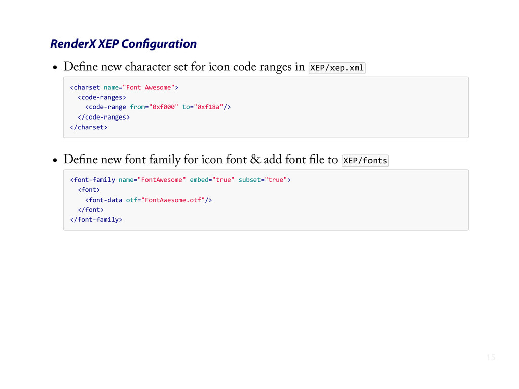 RenderX XEP Configuration Define new character se...