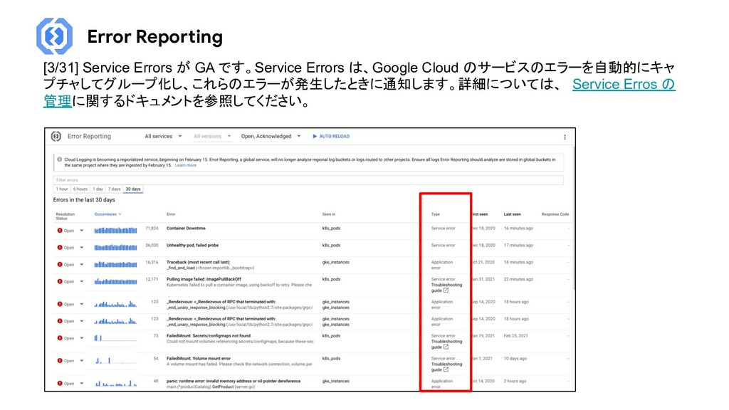 Error Reporting [3/31] Service Errors が GA です。S...