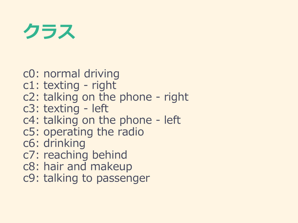 クラス c0: normal driving c1: texting - right c2: ...