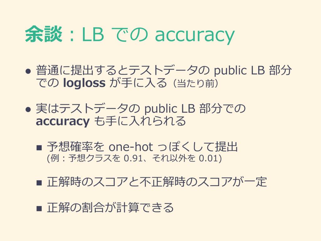 余談:LB での accuracy l 普通に提出するとテストデータの public LB 部...