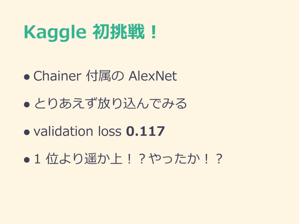 Kaggle 初挑戦! l Chainer 付属の AlexNet l とりあえず放り込んでみ...